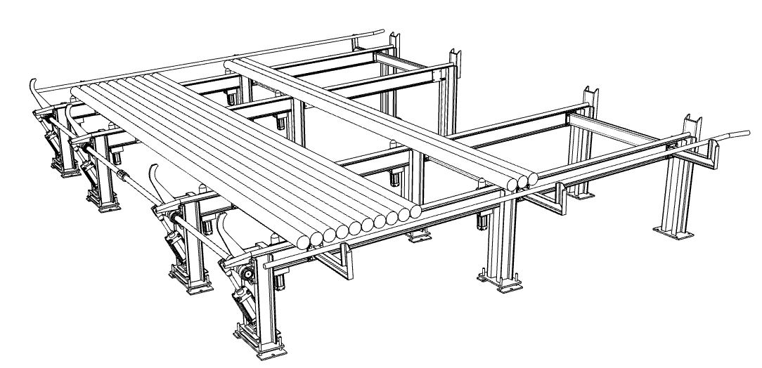 Aluminium extrusion tilted table log loading system