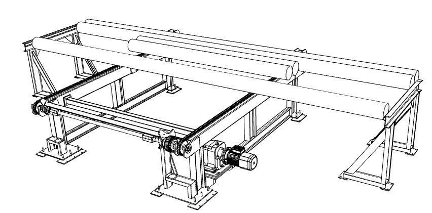 Aluminium extrusion driven table log loading system
